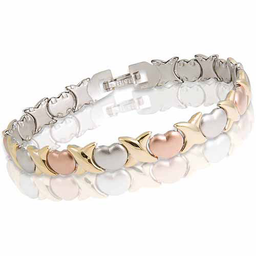 "Tri-Color Stainless Steel XO Bracelet, 8"""