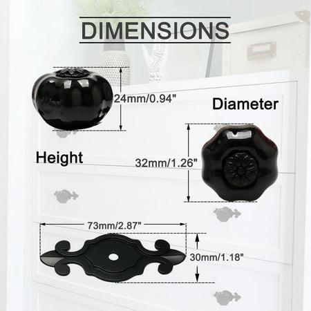 Ceramic Knob Pumpkin Drawer Knob Pull Handle Door Cupboard Wardrobe 4pcs Black - image 4 de 8
