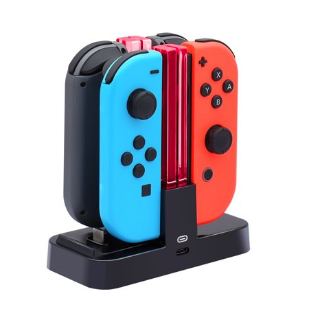 TSV Controller Charger for Nintendo Switch, Charging Dock Stand Station for Switch Joy-con and Pro Controller with Charging (Mp4 Docking Stations)