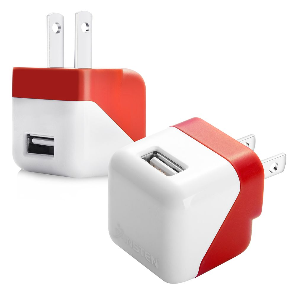 Insten Universal USB AC Wall Travel Charger Adapter Red For iPhone 7 7+ 6 6+ Plus SE 5S 5 4S Samsung Galaxy S5 S6 S7 Note 7 5 4 J7 J3 J1 On5 LG G Stylo 2 Stylus K7 K8 K8v K10 K3 Motorola Moto G4 Plus