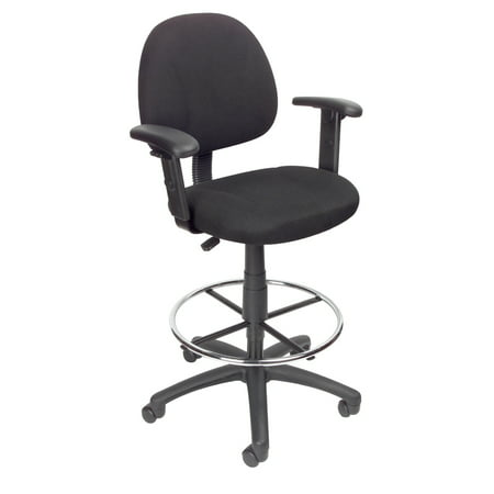 Drafting Stool with Footring And Adjustable Arms Black - Boss Office Products