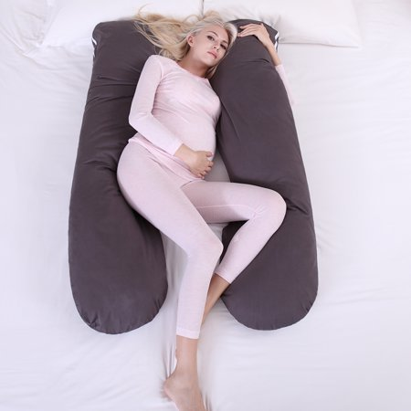 Jaxpety Maternity Body Pillow Pregnancy Pillow for Extra Comfort Gray w/ Zippered Removable (Best Maternity Pillows)