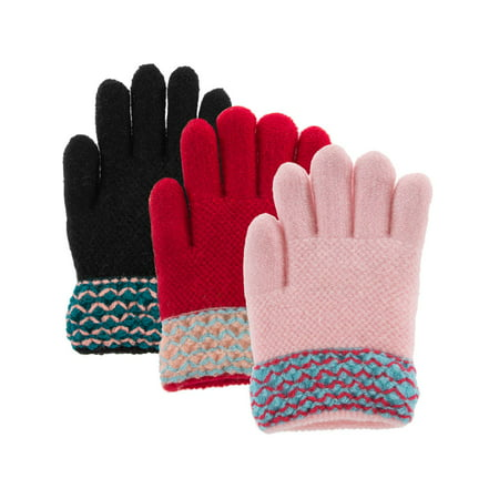 Classic Fashion (3 Pairs) Winter Gloves For Girls, Acrylic Kids Gloves With Soft Warm Knitted Sherpa Fleece Lining