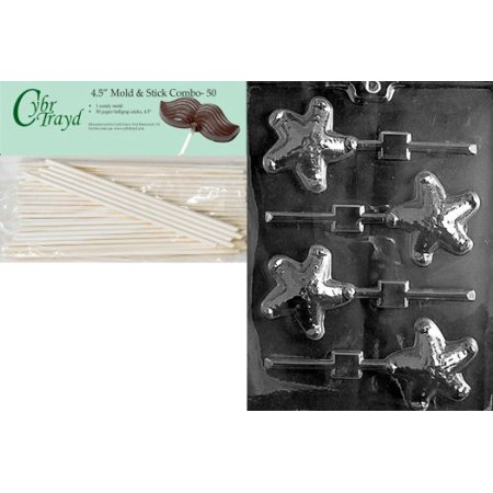 Cybrtrayd 45St50-N040 Starfish Lolly Nautical Chocolate Candy Mold with 50-Pack 4.5-Inch Lollipop Sticks