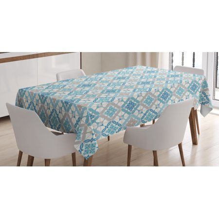 Quatrefoil Tablecloth, Tangled Modern Lisbon Pattern Based on Traditional Oriental Arabesque Tiles, Rectangular Table Cover for Dining Room Kitchen, 60 X 90 Inches, Blue Tan White, by Ambesonne