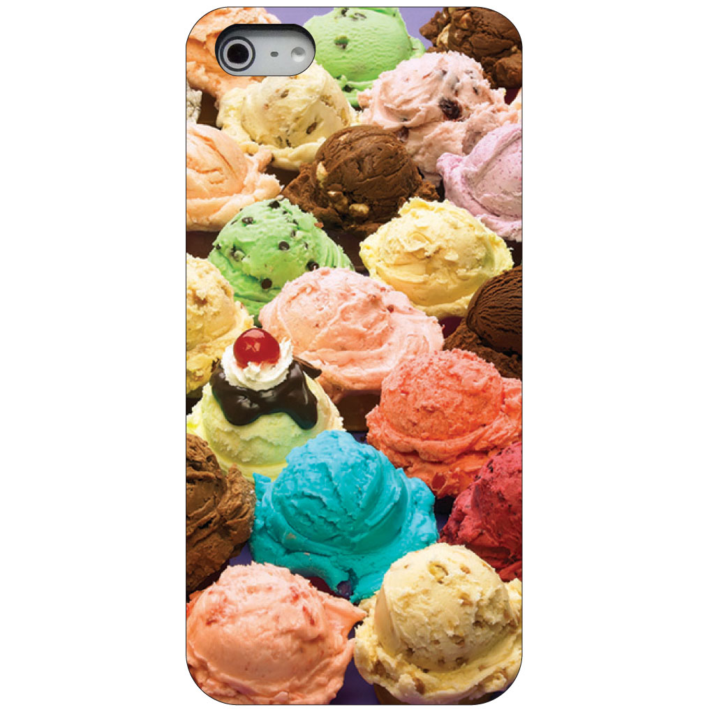CUSTOM Black Hard Plastic Snap-On Case for Apple iPhone 5 / 5S / SE - Ice Cream Scoops Cones