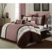 12pc Livingston Rose/Brown Luxury Bed-in-a-Bag