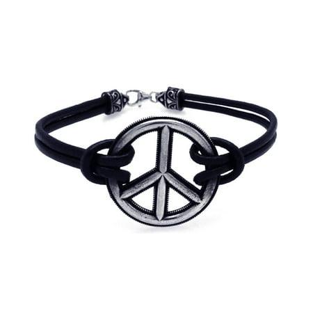 Womens Peace Bracelet - Women's Sterling Silver 925 Oxidized Peace Sign Bracelet  567-oxb00003