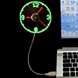 LED Clock Fan Mini USB Powered Cooling Flashing Real Time Display -