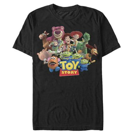 Toy Story Men's Character Logo Scene T-Shirt - Mens Toy Story Woody Shirt