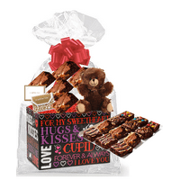 Valentines Day Hugs and Kisses Gourmet Food Gift Basket Chocolate Brownie Variety Gift Pack Box (Individually Wrapped) 12pack