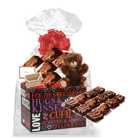 Valentines Day Hugs and Kisses Gourmet Food Gift Basket Chocolate Brownie Variety Gift Pack Box (Individually Wrapped) 12pack - Valentine Day Box Ideas