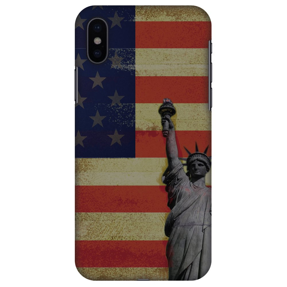 iPhone X Designer Case, Premium Handcrafted Printed Designer Hard ShockProof Case Back Cover for Apple iPhone X - Rustic Liberty US Flag, Thin, Light Weight, HD Colour, Smooth Finish