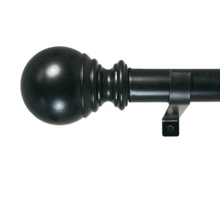 "Decopolitan 1"" Diameter Ball Telescoping Drapery Rod Set 36-72"" Black"