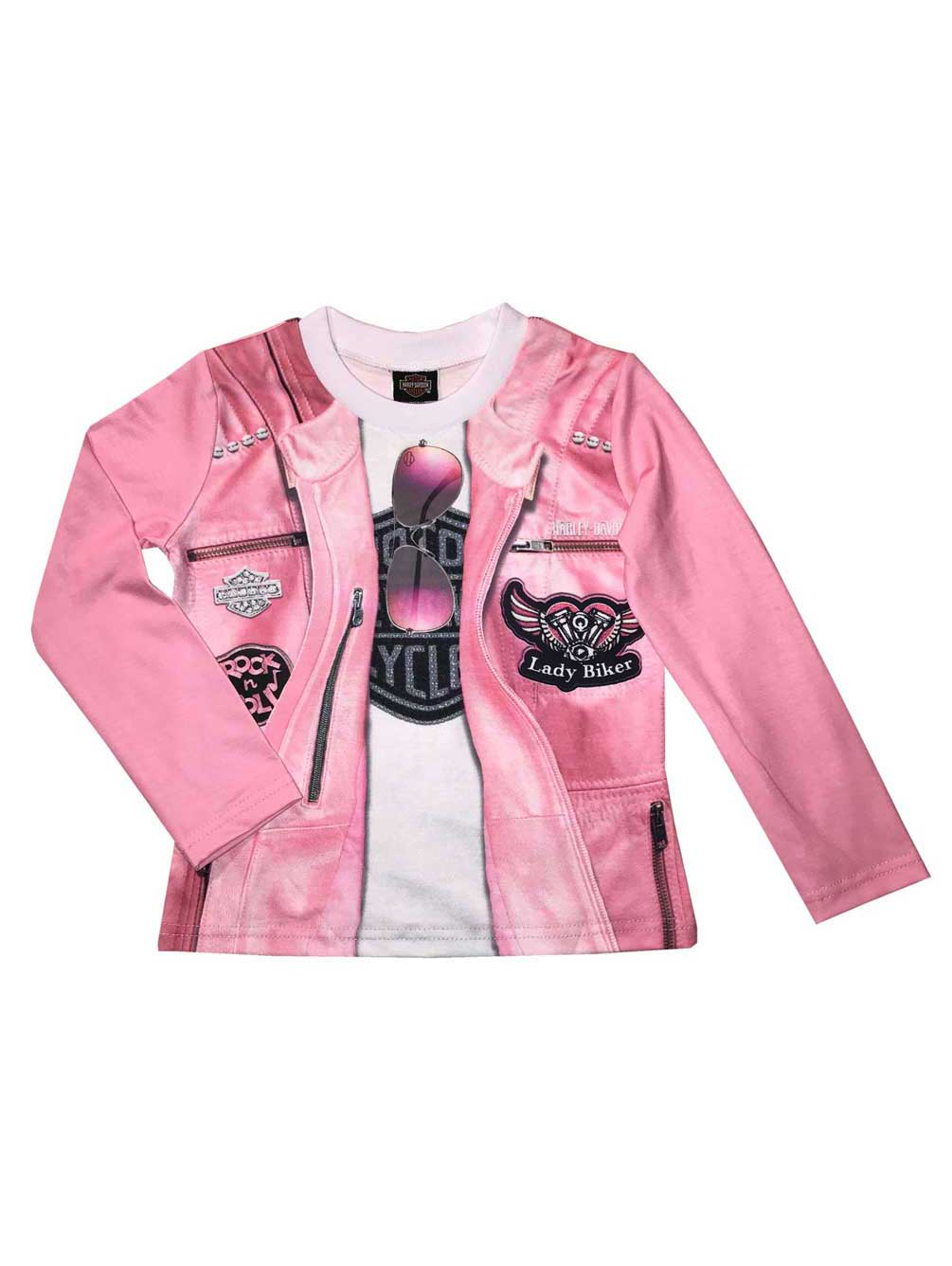 Pink 1024815 Harley-Davidson® Little Girls/' Knit Long Sleeve Toddler Tee