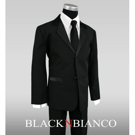 Boys Tuxedo Suit with Satin Notch Labels and a Black Neck Tie 2 Button Notch Boys Tuxedo