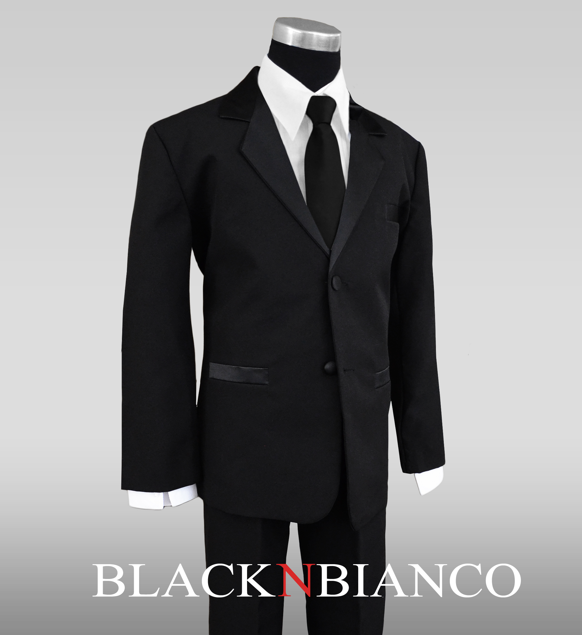 Boys Tuxedo Suit with Satin Notch Labels and a Black Neck Tie