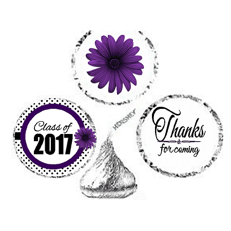 216ct Purple Class Of 2017 Party Favor Hersheys Kisses Candy Decoration Stickers / Labels (Halloween Parties In Atlanta 2017)