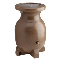 KoolScapes 55 Gallon Sandstone-Look Rain Barrel with Brass Tap and Drain Plug