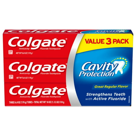 Colgate Cavity Protection Toothpaste with Fluoride, Great Regular Flavor - 6 Ounce, 3 (6 Ounce Leather Wrap)