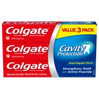 Colgate Cavity Protection Toothpaste with Fluoride, Great Regular Flavor - 6 Ounce, 3 pack
