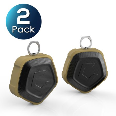 2 Pack Cobble Pro Pentagon Portable NFC Wireless 4.2 Bluetooth Waterproof Speaker with 7W Strong RMS Output - IP67 Shockproof & Built-in MIC Handsfree & Art as 2000mah PowerBank for iPhone XS Max XR