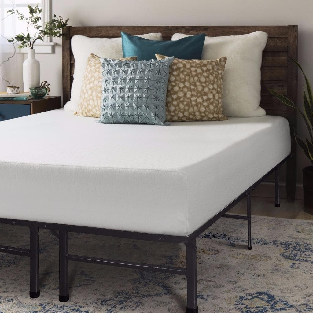 Crown Comfort  10-inch Memory Foam Mattress and Bed Frame Set