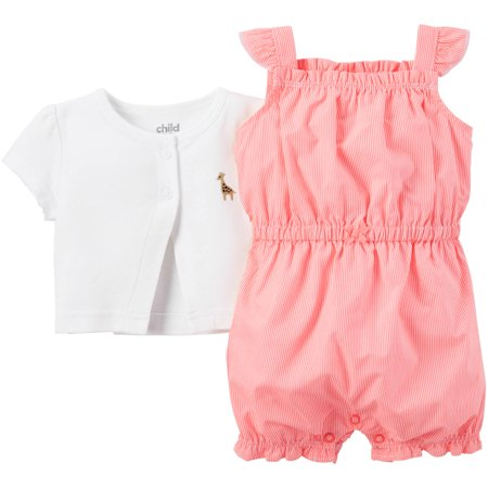 Child of Mine made by Carter's Newborn Baby Girl Romper and Cardigan Outfit Set 2 Pieces