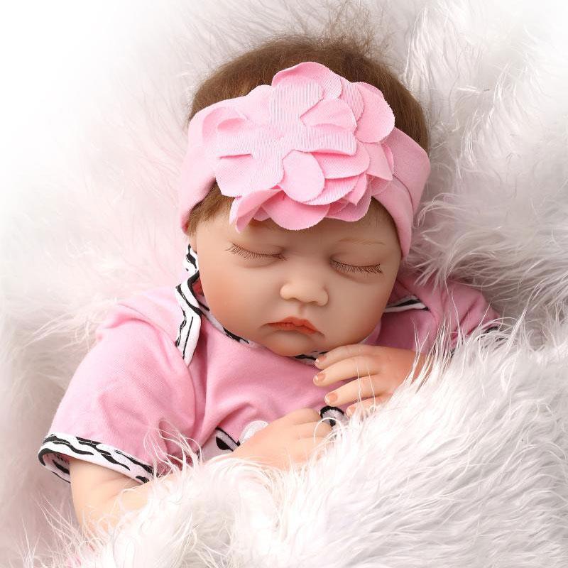 22/'/' Lifelike Handmade Baby Girl Doll Silicone Vinyl Reborn Newborn Toys+Clothes