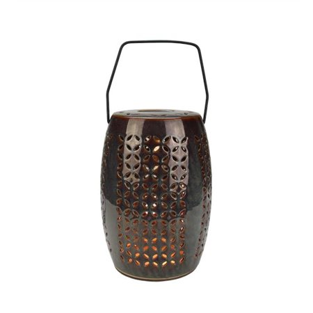 "10.25"" Decorative Chestnut Brown Bellaroma Crescent Cut-Out Ceramic Candle Warmer Lantern"