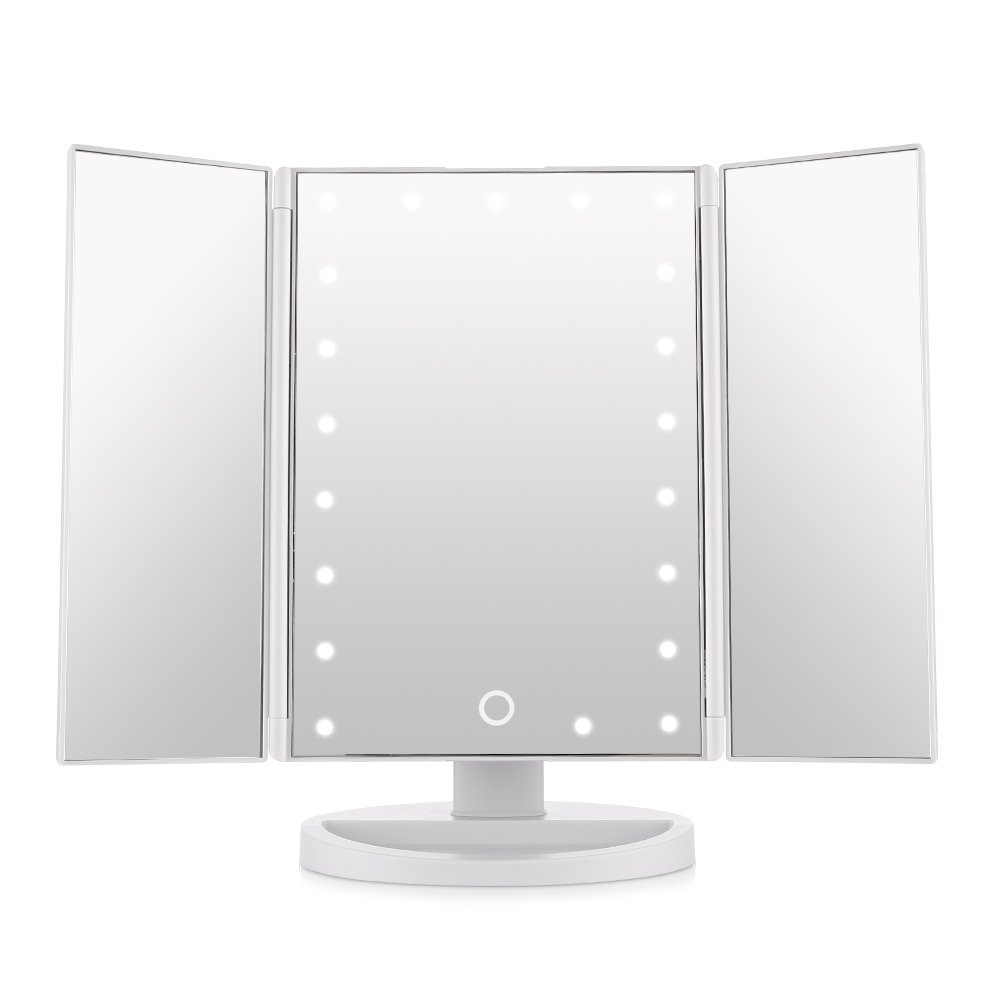 easehold trifold lighted vanity mirror three panel 21pcs led light 180 degree free rotation