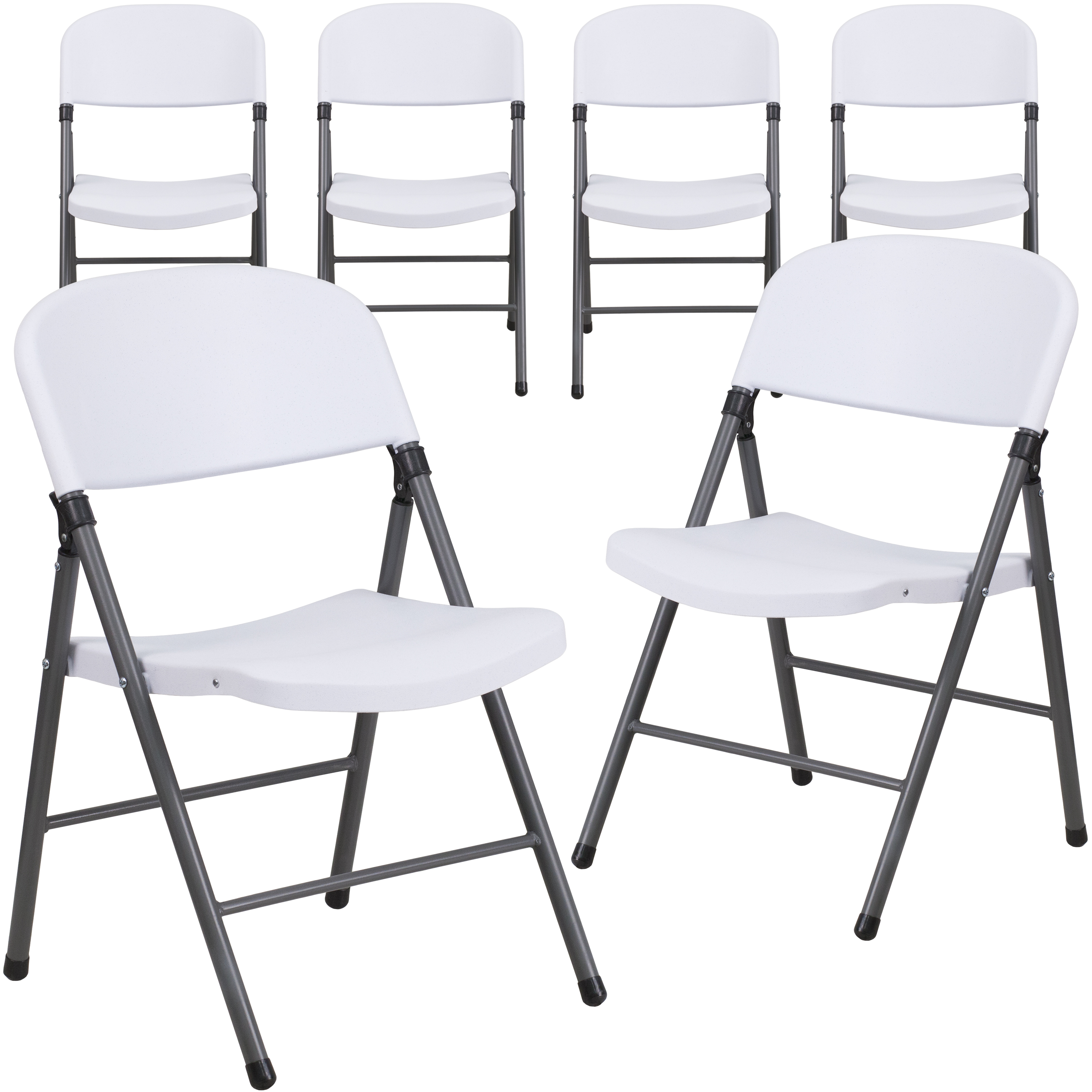 Merveilleux Flash Furniture 6 Pack HERCULES Series 330 Lb Capacity White Plastic  Folding Chair With Charcoal Frame   Walmart.com