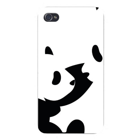 Apple Iphone Custom Case 4 4s White Plastic Snap on - Mother & Baby Panda Bears