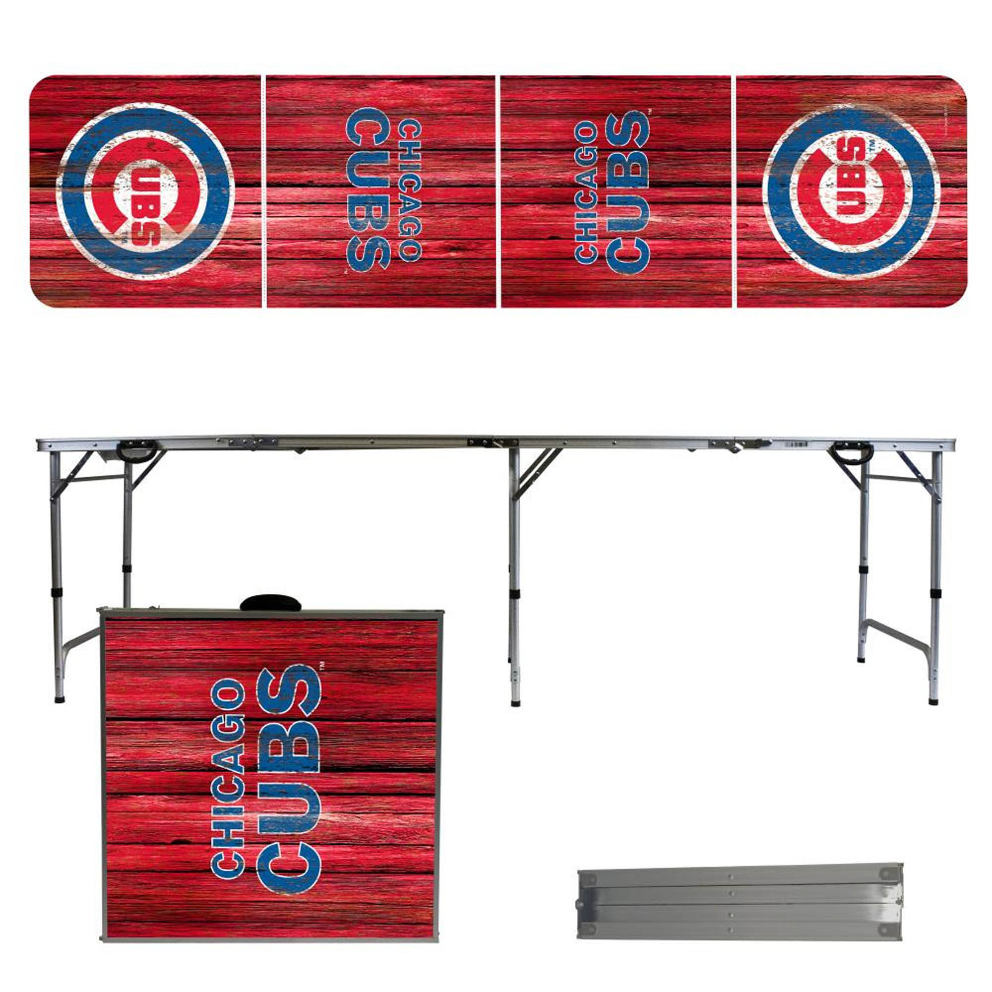 Chicago Cubs Weathered Design 8' Portable Folding Tailgate Table - No Size