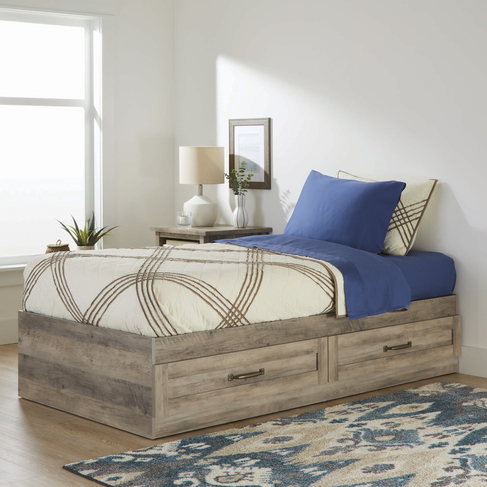 Picture of: Better Homes Gardens Modern Farmhouse Platform 2 Drawer Storage Bed Twin Rustic Gray Walmart Com Walmart Com