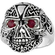 Sterling Silver Victorian Skull Iron Cross Ring 12