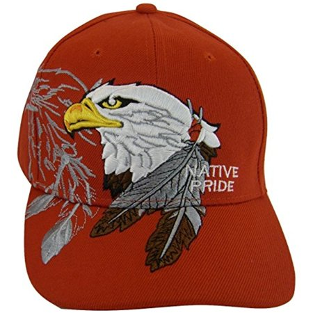 American Bald Eagle Native Pride Men's Baseball Cap (Red) - Dark Bald Cap