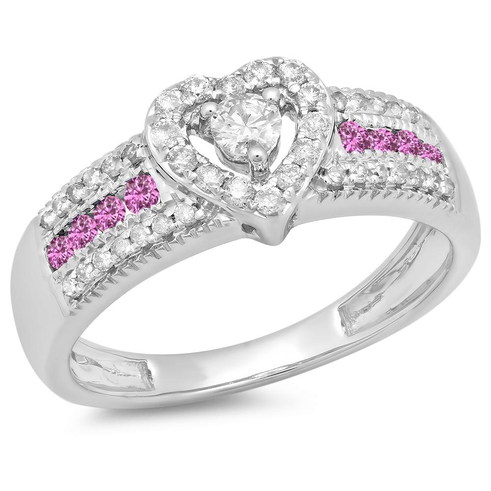 Dazzling Rock 10K White Gold Round Pink Sapphire & White ...