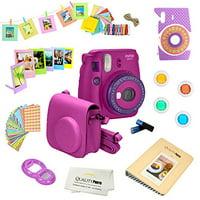 Fujifilm Instax Mini 9 (Purple) Deluxe kit bundle Includes -Instant camera - Custom Camera Case - instax Album - Frames -Wall Hang Frames- Stickers - Close up lens + MORE …