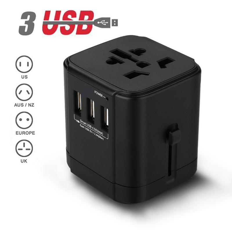 Universal Travel Adapter,International Travel Adapter Charger AC Power AU UK US EU Plug 4.5A 3-Ports USB Charging Port surge Protector,All-in-1