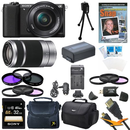 Sony a5100 ILCE5100L/B ILCE5100L ILCE5100 ILCE5100lb 16-50mm Interchangeable Lens Camera with 3-Inch Flip Up LCD (Black) Bundle with SEL 55-210 Zoom Lens (Silver), Sony 32GB Class 10 SD card, Spare B