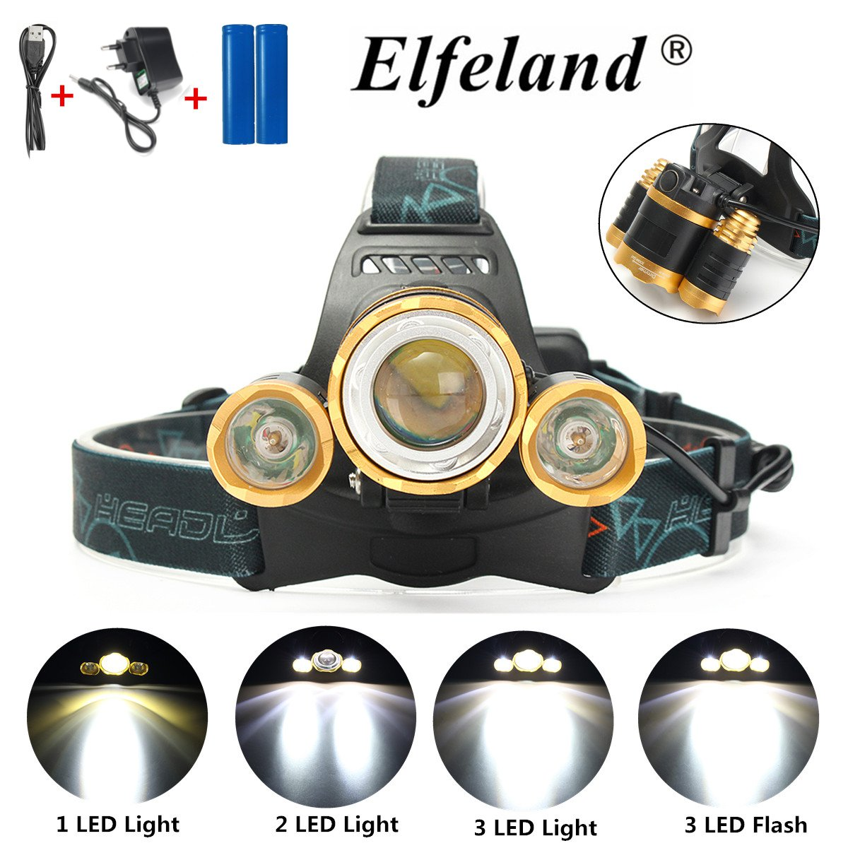 5000LM 3x T6 LED Zoomable Rechargeable Headlight Headlamp Head chargersampampampadapter Lantern Lamp Torch + 2Pcs 18650 Battery + AC Chargering Plug For Camping Fishing
