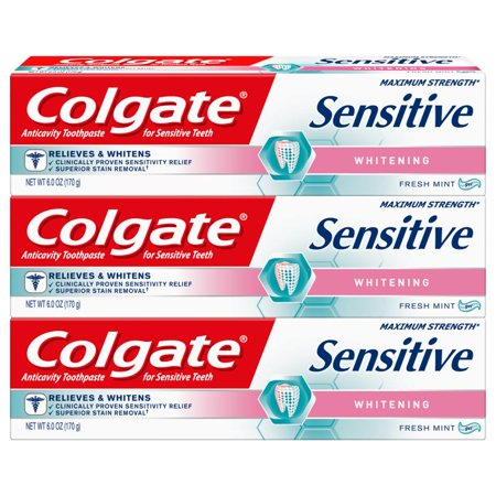 Colgate Sensitive Toothpaste, Whitening - Fresh Mint Gel Formula (6 ounce, Pack of (Foods Xyliwhite Toothpaste Gel)