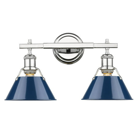 - Orwell CH 2 Light Bath Vanity in Chrome with Navy Blue Shade