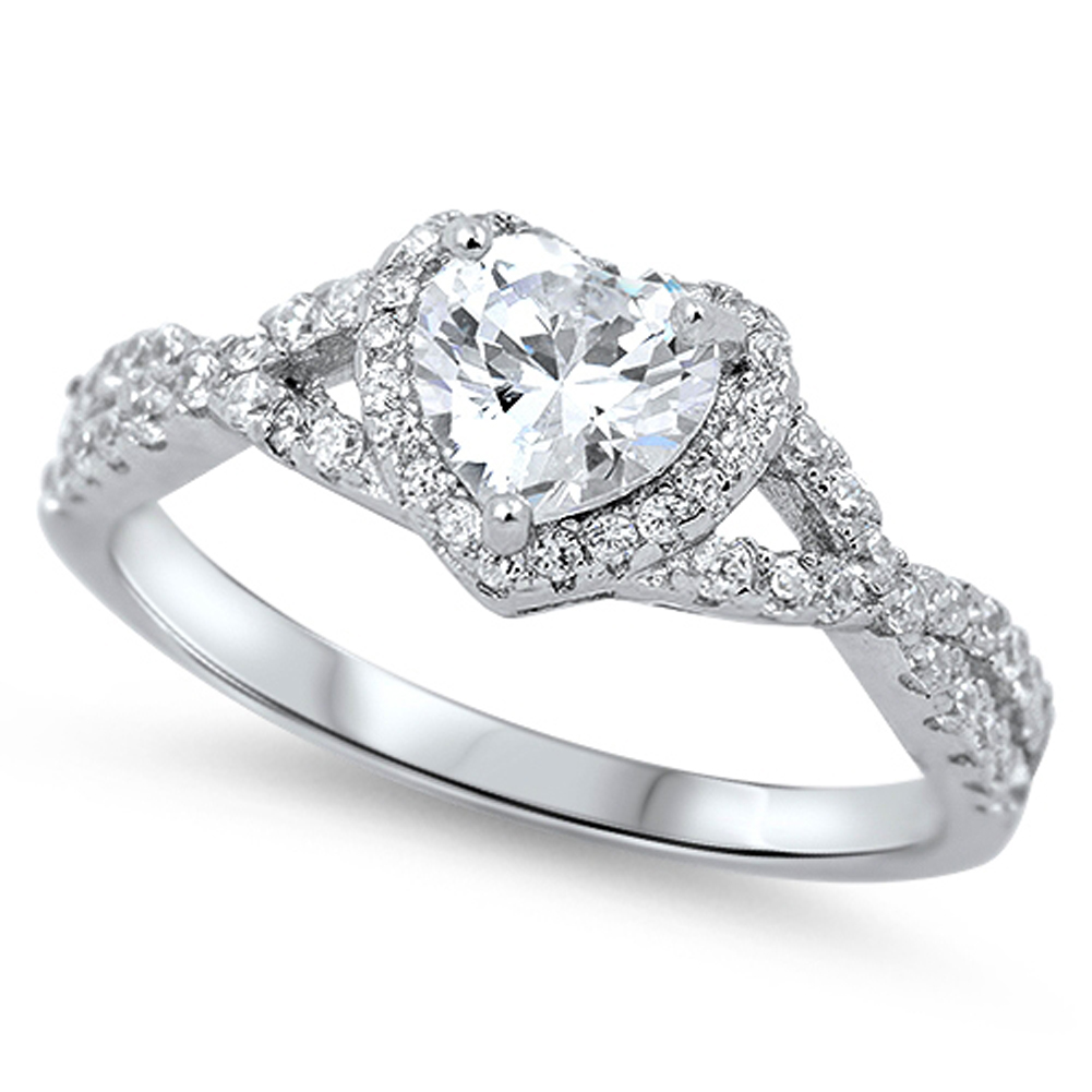 Heart Clear CZ Halo Promise Ring ( Sizes 4 5 6 7 8 9 10 11 12 ) .925 Sterling Silver Infinity Band Rings by Sac Silver (Size 11)