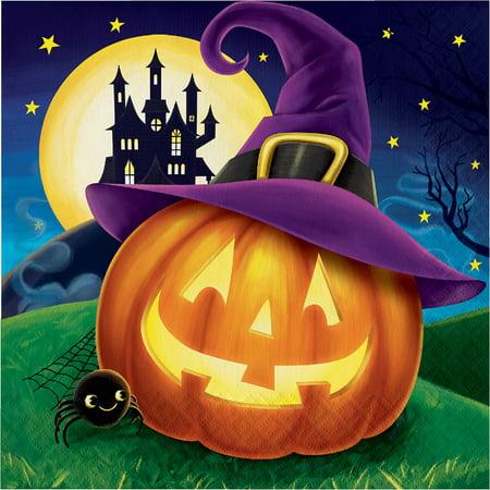 "Club Pack of 192 Orange and Purple Pumpkin 2-ply Halloween Luncheon Napkins 6.5"" - Club 65 Halloween"