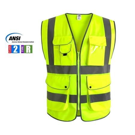 Multiple Pockets Class 2 High Visibility Zipper Front Safety Vest With Reflective Strips, Yellow Meets ANSI/ISEA Standards (X-Large)
