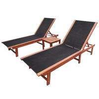 3 Pieces Outdoor Adjustable Chaise Lounge Chair Sun Lounger Sets Poolside Chaise with Square Tea Table Home Garden Patio Beach Laying Nap Lounge Chair