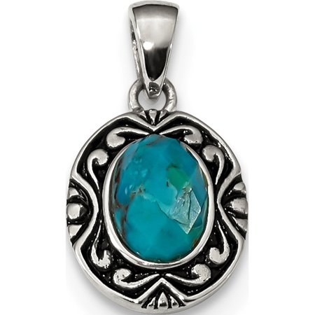 Leslies Fine Jewelry Designer 925 Sterling Silver Rhodium/Oxidized w/Reconstituted Turquoise (11.8x20.8mm) Pendant Gift
