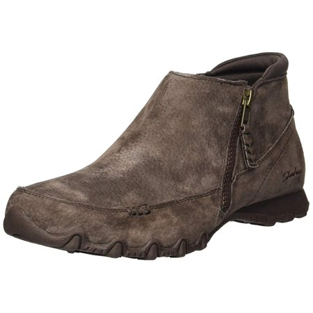 - Skechers Women's Bikers-Zippiest-Moc-Toe Outside Zip Bootie, Chocolate, Size 5.0